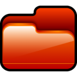 El icono de carpeta abierta Rojo